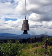 Hanging bell in a rural setting